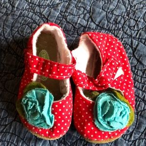 Baby Mary Janes, Red with white dots, size 3